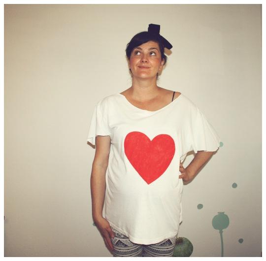 majica srce bijela